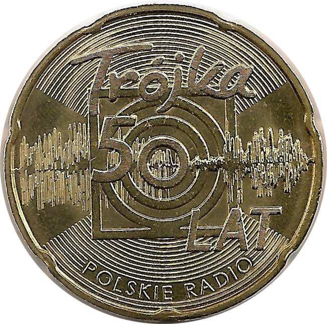 """Монета """"50 лет Польскому радио «Тройка»"""""""