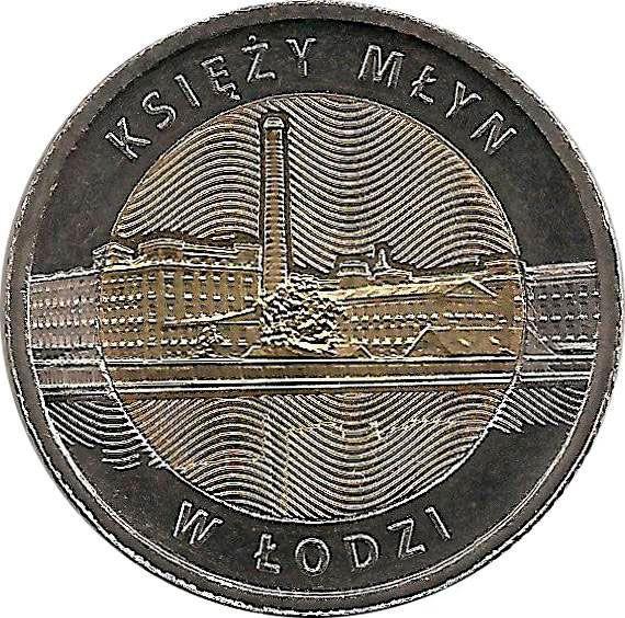 """Монета """"Мельница Ксендза в Лодзи,"""