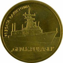 """Монета """"Ракетный фрегат «Генерал Пулавский»"""""""